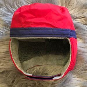EUC Patagonia Red Faux Fur Winter Velcro Hat sz L